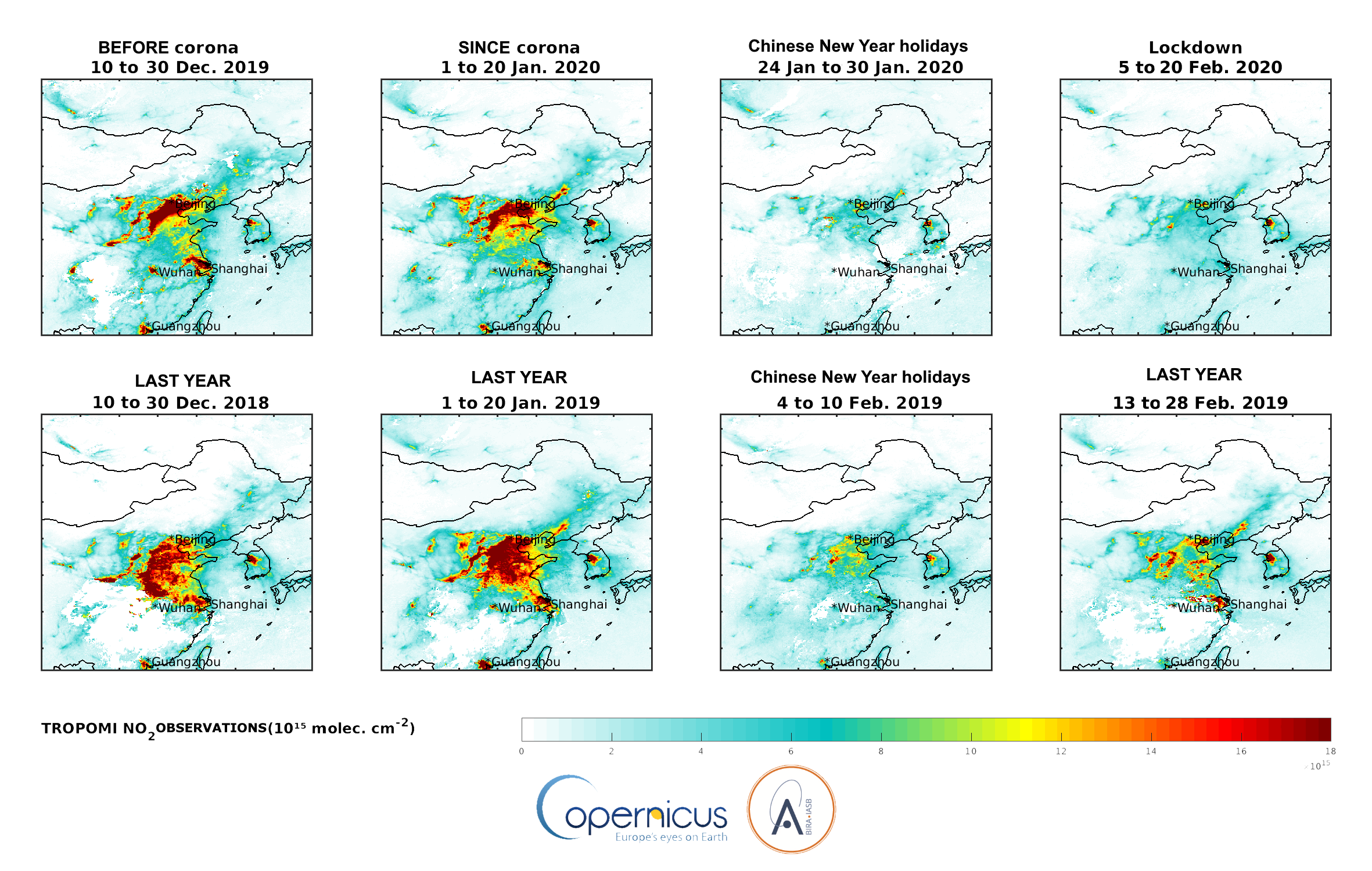 Reduced NO2 emissions over China due to corona virus