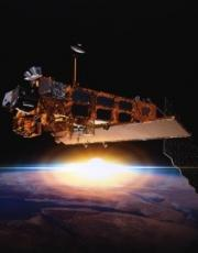 The Envisat satellite from the European Space Agency (ESA), here during its assembly in the European Space Technology and Research Center (ESTEC) in Noordwijk, Netherlands in April 2000, was a major satellite for environmental research. It included 10 instruments based on different techniques, including the limb sounder GOMOS. ©ESA